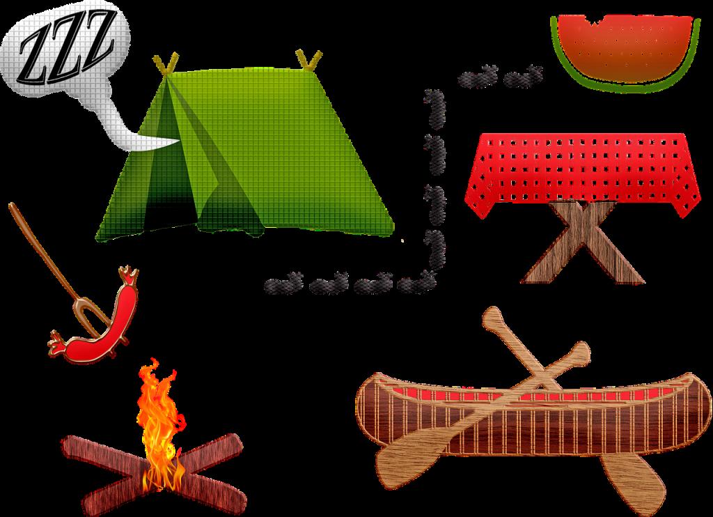 camping equipment, tent, canoe