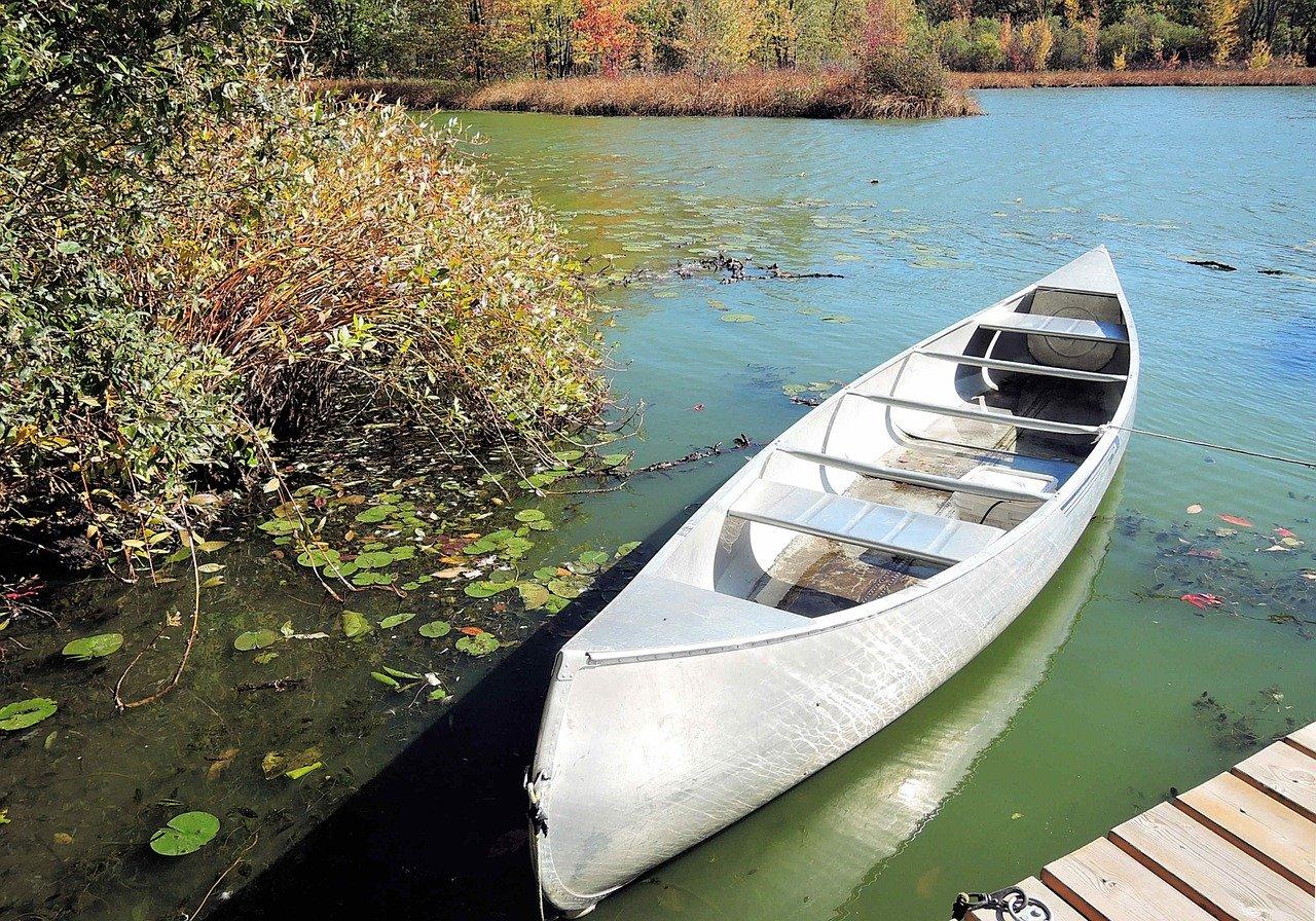 canoe, fresh water lake, autumn colors
